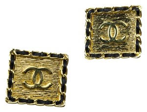 Chanel Chanel Vintage Square Leather Earrings