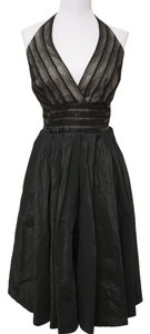Carmen Marc Valvo Sequins Lace Halter V-neck Formal Dress