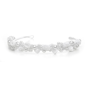 Mariell Child's White/silver Floral Headband Or Tiara 3938h-w-s