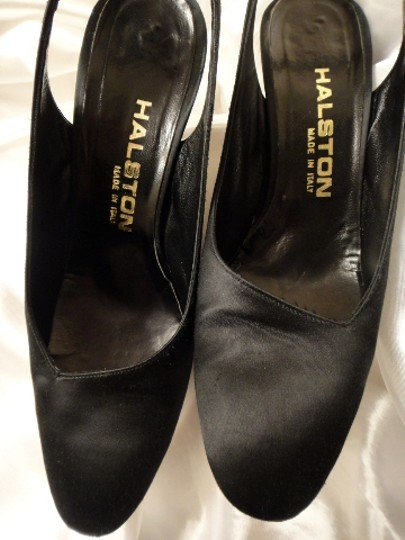 Halston Satin Black Pumps