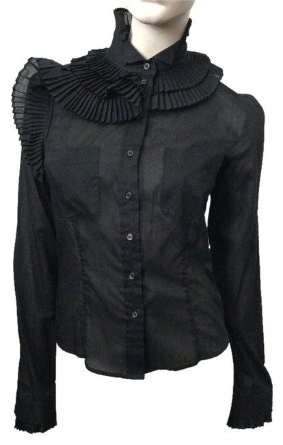 Preload https://img-static.tradesy.com/item/3781201/antonio-berardi-black-collared-button-down-top-size-2-xs-0-0-650-650.jpg