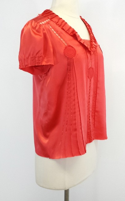 Marc Jacobs Silk Cutout Top Coral