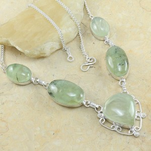 Green Prehinite Quartz Y Necklace Free Shipping