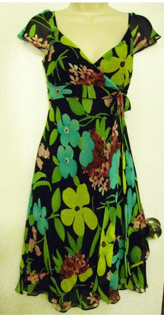 Nine West short dress Multi-Color 100% Silk on Tradesy