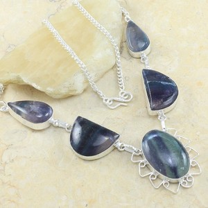 Blue/Grey Bogo Free Dichroic Glass Free Shipping Necklace