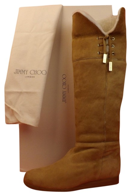 Jimmy Choo Beige Dilla Nude Suede Shearling Tall Winter Boots/Booties Size EU 40 (Approx. US 10) Regular (M, B) Jimmy Choo Beige Dilla Nude Suede Shearling Tall Winter Boots/Booties Size EU 40 (Approx. US 10) Regular (M, B) Image 1