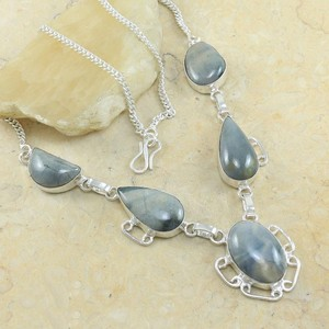 Grey Jasper Y Chunky Necklace Free Shipping