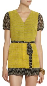 Anna Sui Romper Silk Printed Shorts yellow