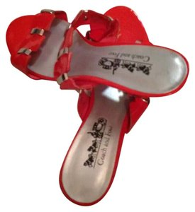 Coach Tangerine Red Sandals