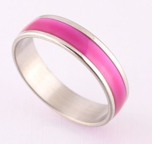 Pink Oil Drop Stainless Steel Ring Free Shipping