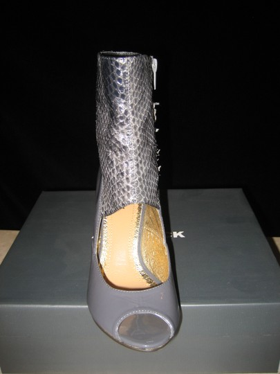 ALL BLACK Snakeskin Patent Leather GREY Boots
