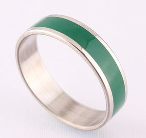 Green Enamel Stainless Steel Stripe Ring Free Shipping