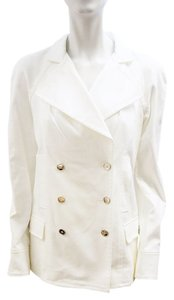 Dolce&Gabbana New Dolce & Gabbana Ivory Cotton Double Breasted Jacket 6 Small White Blazer