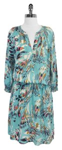 Tibi short dress teal Print Silk Drop Waist on Tradesy