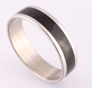 Silver & Black Stainless Steel Wedding Band Free Shipping