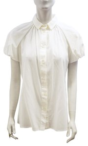 Dolce&Gabbana New Dolce & Gabbana Ivory Cotton Button Down Puff Sleeve 8 M Top White