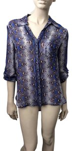 Diane von Furstenberg Button Down Shirt Blue