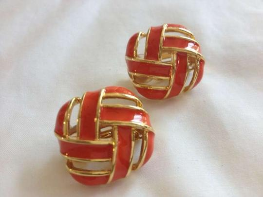 St. John Gold Tone Button Earrings, Coral Enamel, Clip On