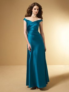 Alfred Angelo Tealness Satin Style Number 7050 Formal Bridesmaid/Mob Dress Size 6 (S)