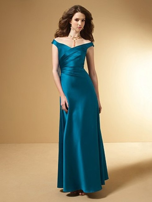 Alfred Angelo Tealness Satin Style Number 7050 Formal Bridesmaid/Mob Dress Size 6 (S) Alfred Angelo Tealness Satin Style Number 7050 Formal Bridesmaid/Mob Dress Size 6 (S) Image 1
