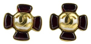 Chanel Chanel Vintage Pearl CC Clip On Gripoix Earrings