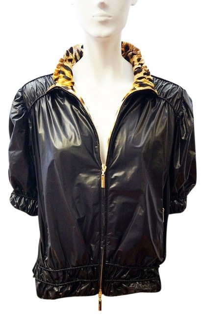 Roberto Cavalli New Coated Nylon Short Sleeve Zip Windbreaker M Black Jacket