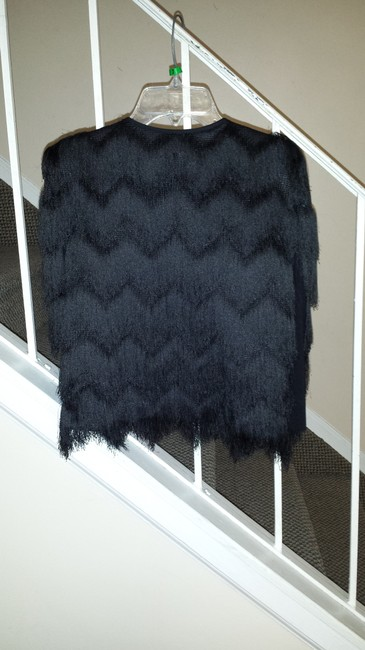 BCBGMAXAZRIA Top black fringed