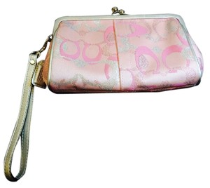 Coach Wristlet in pink and silver