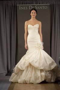 Ines Di Santo Antique Ivory Silk Organza Campania Feminine Wedding Dress Size 0 (XS)
