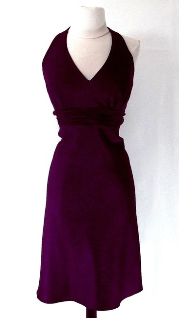 Alfred Angelo Eggplant Satin / Organza 7072 Casual Bridesmaid/Mob Dress Size 12 (L) Alfred Angelo Eggplant Satin / Organza 7072 Casual Bridesmaid/Mob Dress Size 12 (L) Image 1
