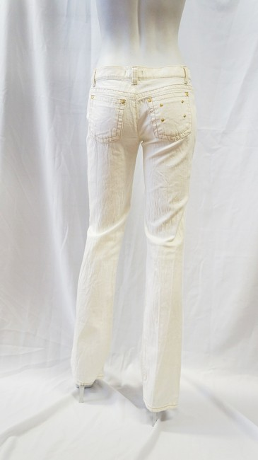 Roberto Cavalli Gold Stud Whiskered Denim S M Straight Leg Jeans-Light Wash