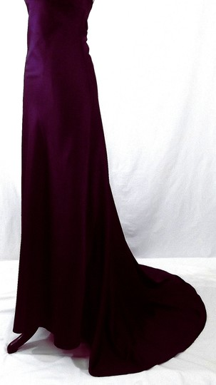 Alfred Angelo Eggplant Satin Style 7043 Formal Bridesmaid/Mob Dress Size 8 (M)