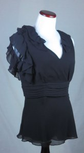 New Without Tags Chadwick's Collection Top Sheer Black Chiffon