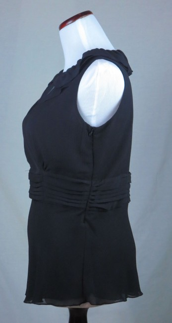 New Without Tags Chadwick's Collection Double Layer Fitted Waist Pintucks Flutter Hem Top Sheer Black Chiffon