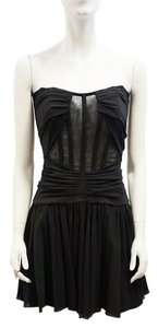 Dolce&Gabbana New Dolce & Gabbana Lbd Silk Bustier Strapless Flowy Mini 4 Small Dress
