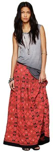 Free People Bohemian Red Maxi Maxi Skirt