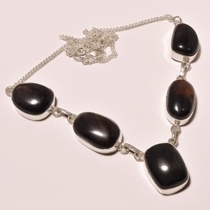 Black Brown Agate Onyx Y Necklace Free Shipping