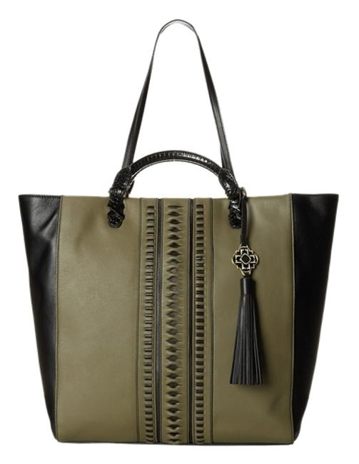 Item - New York Joey Pinched Nappa Olive/Black Olive/Black Leather Tote