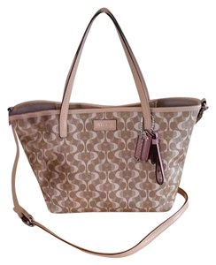 Coach Park Metro Small Canvas Tote in Khaki/tan/multi