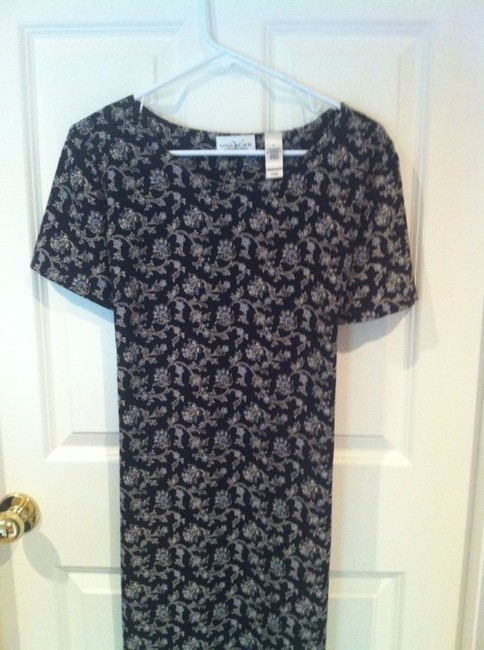 Villager by Liz Claiborne Travel Easy Care Washable Scinavian Inspired Wedding Y Professional L Large Large 12 14 Back Tie Mid Calf Middy Dress