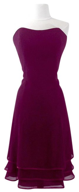 Alfred Angelo Eggplant / Berry Chiffon / Satin Style 7056 Casual Bridesmaid/Mob Dress Size 10 (M) Alfred Angelo Eggplant / Berry Chiffon / Satin Style 7056 Casual Bridesmaid/Mob Dress Size 10 (M) Image 1