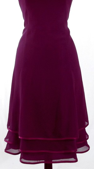 Alfred Angelo Eggplant / Berry Chiffon / Satin Style 7056 Casual Bridesmaid/Mob Dress Size 10 (M)