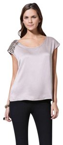 Isabel Lu Metallic Hardware Silk Studded Date Night Top Taupe