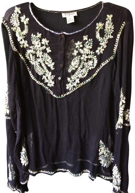 Item - Black Silk Hand Embroidered Tunic Size 14 (L)
