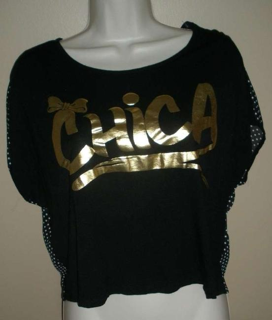 Forever 21 Crop Chica Cute T Shirt black and gold
