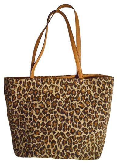 Talbots Leather Tote in tan & brown