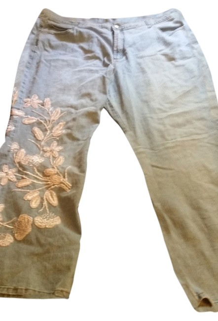Item - Blue Light Wash Stretchy Embroidered Boot Cut Jeans Size 26 (Plus 3x)