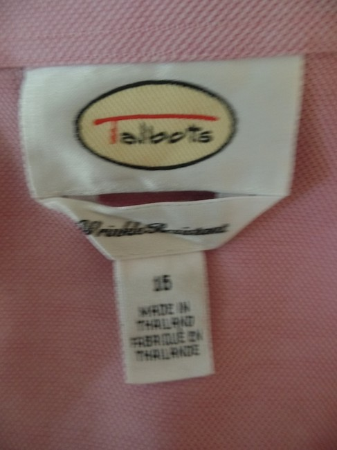 Talbots Wrinkle Resistant Blouse Collar Rounded Hem Red & White Cotton Size 16 Button Down Shirt Pink Tint