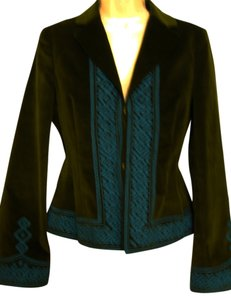 Tory Burch Long-sleeve Embroidered Olive Green/Turquoise Blazer