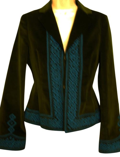 Preload https://img-static.tradesy.com/item/3785320/tory-burch-olive-greenturquoise-embroidered-long-sleeve-blazer-size-2-xs-0-0-650-650.jpg